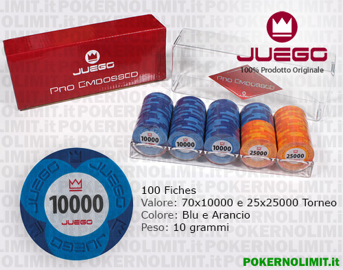 Juego - 100 Fiches Pro Embossed val. 10000 e 25000 - fiches real clay