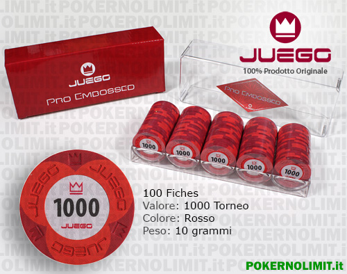 Juego - 100 Fiches Pro Embossed valore 1000 - fiches real clay