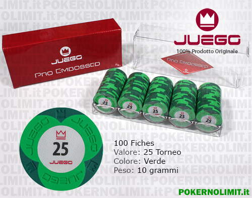 Juego - 100 Fiches Pro Embossed valore 25 - fiches real clay
