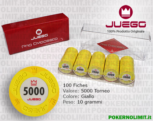 Juego - 100 Fiches Pro Embossed valore 5000 - fiches real clay