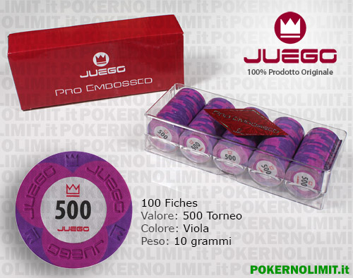 Juego - 100 Fiches Pro Embossed valore 500 - fiches real clay
