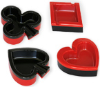 Poker Set - 4 Posaceneri in ABS - Poker Playing Card Ashtray