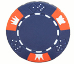 Crown and Dice 3 Colour - 25 Clay Poker Fiches (blu)