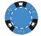 Crown and Dice 3 Colour - 25 Clay Poker Fiches (celeste)