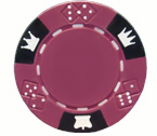 Crown and Dice 3 Colour - 25 Clay Poker Fiches (Dark magenta)