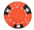 Crown and Dice 3 Colour - 25 Clay Poker Fiches (arancione)