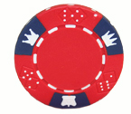 Crown and Dice 3 Colour - 25 Clay Poker Fiches (rosso)