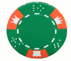 Crown and Dice 3 Colour - 25 Clay Poker Fiches (verde)