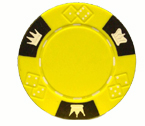 Crown and Dice 3 Colour - 25 Clay Poker Fiches (Giallo)