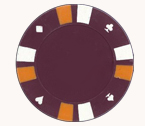 Double strip 3 colour - 25 clay poker fiches (dark magenta)