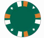 Double strip 3 colour - 25 clay poker fiches (verde)