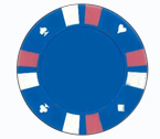 Double strip 3 colour - 25 clay poker fiches (celeste)