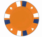 Double strip 3 colour - 25 clay poker fiches (arancione)