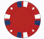 Double strip 3 colour - 25 clay poker fiches (rosso)