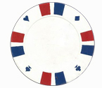 Double strip 3 colour - 25 clay poker fiches (bianco)