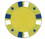 Double strip 3 colour - 25 clay poker fiches (giallo)